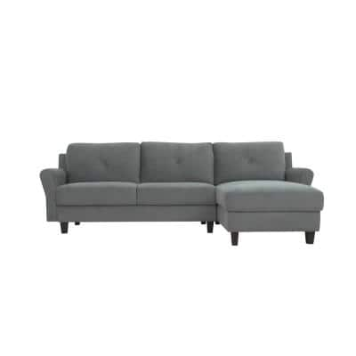 Harvard Dark Gray Microfiber 3-Seater L-Shaped Right-Facing Sectional Sofa with Rolled Arms