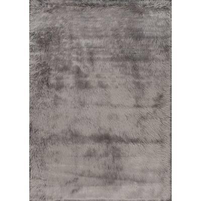 Cloud Faux Sheepskin Plush Shag Gray 9 ft. x 12 ft. Area Rug