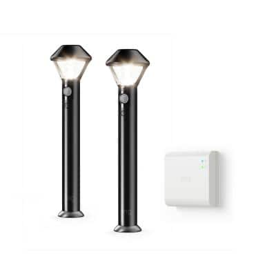 Smart Lighting Motion Activated Outdoor Battery Black Integrated LED Path Area Light with Smart Lighting Bridge(2-Pack)