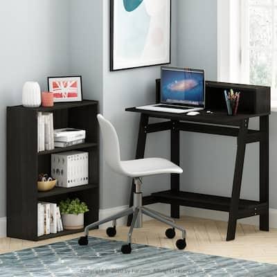 32 in. Rectangular Espresso Computer Desk with Hutch