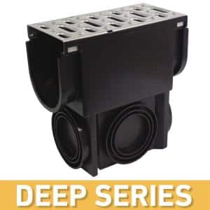 Deep Series Slim Drainage Pit and Catch Basin for Modular Trench and Channel Drain Systems w/ Stainless Steel Grate