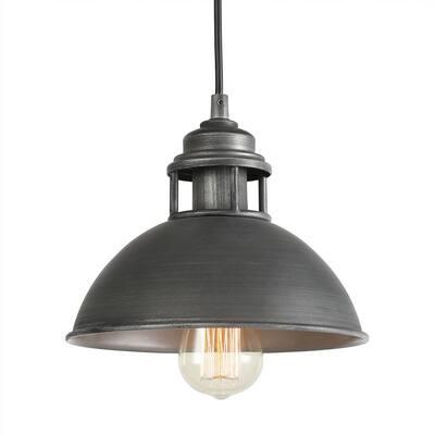 1-Light Black Industrial Pendant Modern Warehouse Barn Pendant Light with Dome Shape