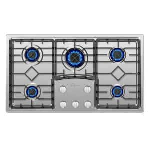 36 in. Gas Stove Cooktop in Stainless Steel with 5 Sealed Burners LP Convertible