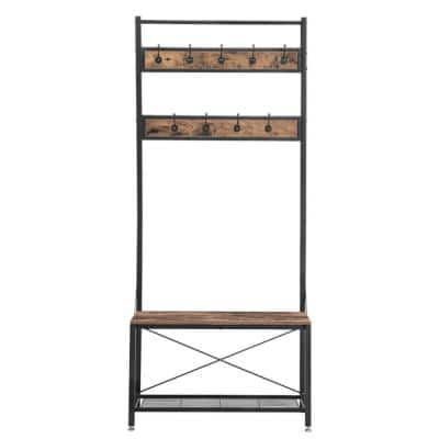 Industrial Brown and Black Wood and Metal Coat Rack with Shoe Bench