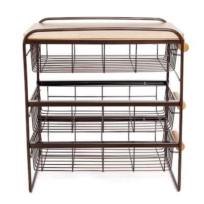 Wood Top Steel Kitchen Organizer 3 Mesh Basket Sliding Drawer, Brown