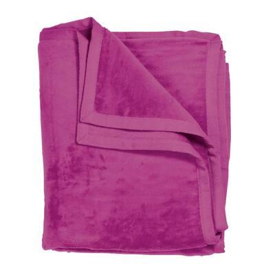 The Company Store Cotton Fleece Fuchsia Twin Woven Blanket Ko18 T Fuchsia The Home Depot