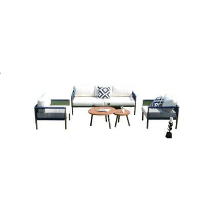 Strader 5-Piece Aluminum Outdoor Sofa with White Cushions and Coffee Tables