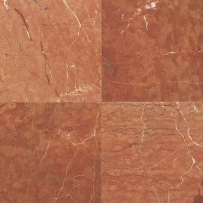 Natural Stone Collection Rojo Alicante 12 in. x 12 in. Marble Floor and Wall Tile (10 sq. ft. / case)