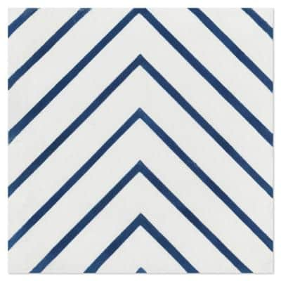 Labyrinth Berry Blue 8 in. x 8 in. Cement Handmade Floor and Wall Tile (Box of 16/ 6.96 sq. ft.)