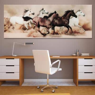 """63 in. x 24 in. """"Stampede"""" Frameless Free Floating Tempered Glass Panel Graphic Art"""