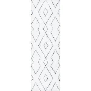 Beaulah Modern Geometric Shag White 3 ft. x 10 ft. Runner