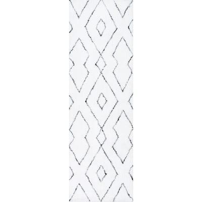 Beaulah Modern Geometric Shag White 3 ft. x 6 ft. Runner