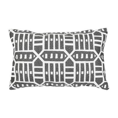 Roland Charcoal Lumbar Outdoor Accent Throw Pillow