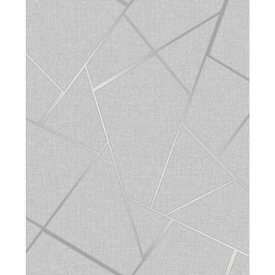 Quartz Silver Fractal 20.5 in. x 33 ft. Unpasted Peelable Vinyl Wallaper
