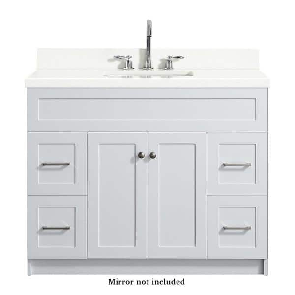 Ariel Hamlet 43 In Bath Vanity In White With Quartz Vanity Top In White With White Basin F043s Wq Vo Wht The Home Depot