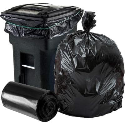 64 Gal. Toter Compatible Trash Bags on Rolls - Black, Case of 50 Bags