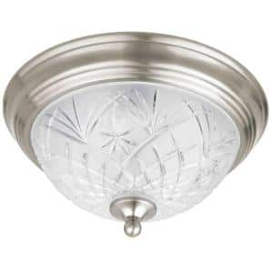 Kilbourne 13 in. 2-Light Satin Nickel Flush Mount with Clear Glass Shade