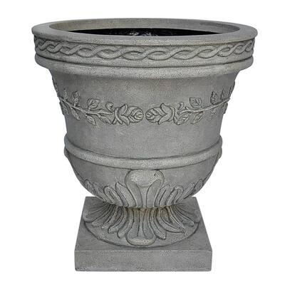 21 in. H. Granite Cast Stone Fiberglass Rose Urn