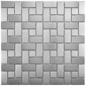 Meta Spiral 11-3/4 in. x 11-3/4 in. x 8 mm Stainless Steel Metal Over Ceramic Mosaic Tile