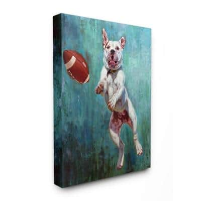"""16 in. x 20 in.""""Bull Dog Playing Football Airborn Funny Painting"""" by Artist Lucia Heffernan Canvas Wall Art"""