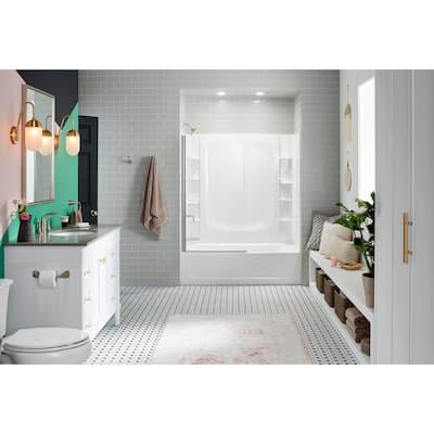 STORE+ 5 ft. Left-Hand Drain Rectangular Alcove Bathtub in White