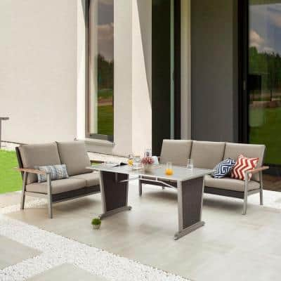 Thermal Transfer 3-Piece Wicker Patio Conversation Set with Khaki Cushions