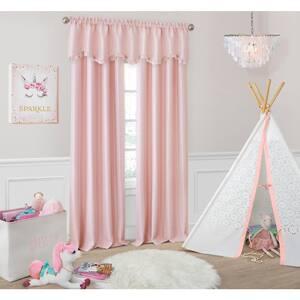 Soft Pink Faux Silk Rod Pocket Blackout Curtain - 52 in. W x 84 in. L