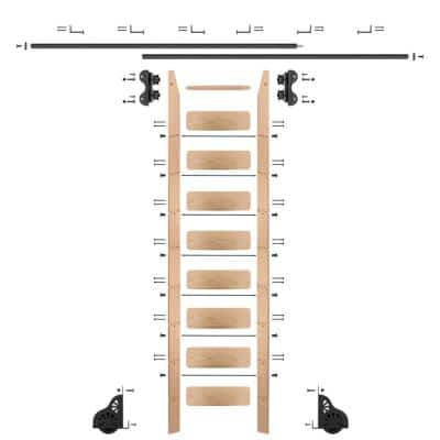 9 ft. Red Oak Library Ladder (10 ft. Reach) Black Rolling Ladder Kit with 12 ft. Rail and Horizontal Brackets