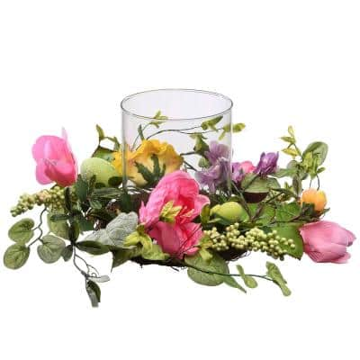 16 in. Candle Holder with Pink Roses, Hydrangeas, Eggs and Berries