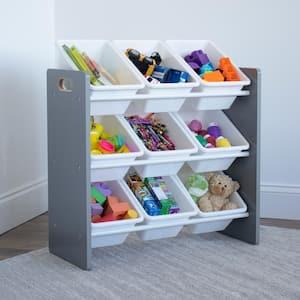 Inspire Collection Grey/White Kids Storage Organizer with 9 Plastic Bins