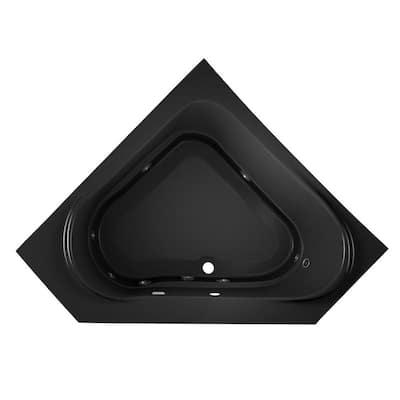 CAPELLA 60 in. x 60 in. Acrylic Corner Drop-In Center Drain Whirlpool Bathtub with Heater in Black