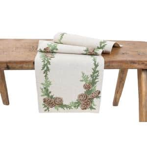 15 in. x 90 in. Winter Pine Cones & Branches Crewel Embroidered Table Runner, Natural