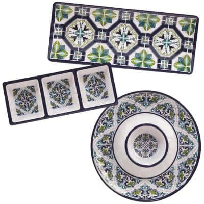 Mosaic 3-Piece Multicolored Melamine 19 in. Platter, 14.5 in. 3-Section Relish Tray, 14.5 Chip and Dip Hostess Set