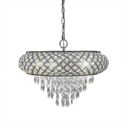 5-Light Chrome Chandelier with Tiered Crystal Glass Shade
