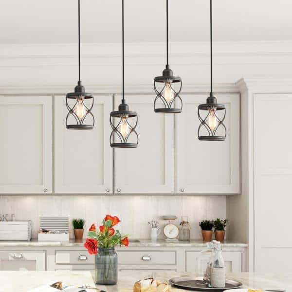 Lnc Modern Farmhouse 1 Light Mini Pendant With Dark Pewter Geometric Openwork Cage Design Shade A03475 The Home Depot