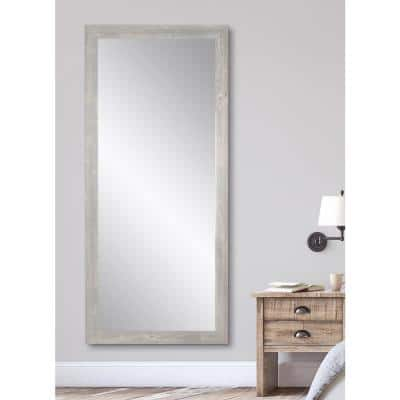 Medium Brown Composite Hooks Modern Farmhouse Cottage Rustic Mirror (32 in. H X 65.5 in. W)