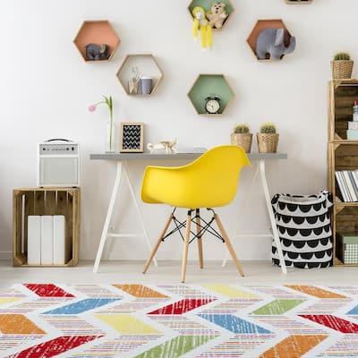 Whimsical Cream / Orange 5 ft. x 7 ft. Indoor Area Rug