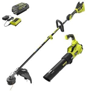 40V Brushless Cordless Battery String Trimmer and Jet Fan Blower Combo Kit (2-Tool) - 4.0 Ah Battery & Charger Included