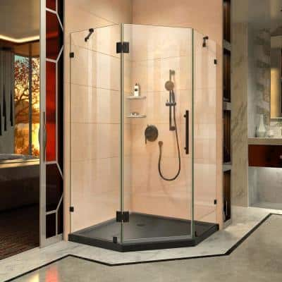 Prism Lux 42 in. x 42 in. x 74.75 in. Frameless Hinged Shower Enclosure in Satin Black with Shower Base