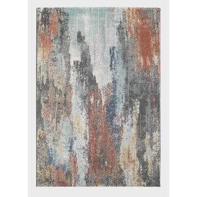 Backas Blue/Rust Red 7 ft. 10 in. x 9 ft. 10 in. Abstract Polypropylene Area Rug