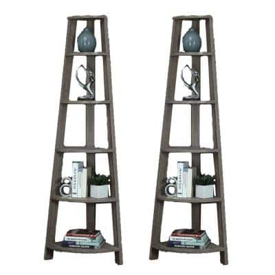 71 in. Dark Taupe Corner Wood Composite 5 -Shelf Accent Etagere Bookcase (2 Pack)