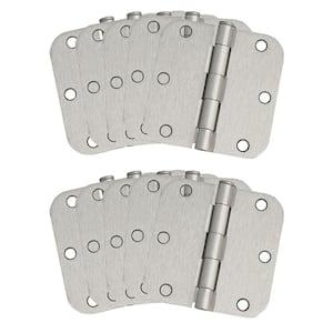 3-1/2 in. x 5/8 in. Radius Satin Nickel Door Hinge Value Pack (10 per Pack)