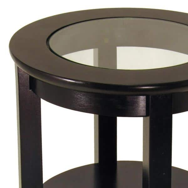 Winsome Wood Genoa Espresso Glass Top, Wood End Tables With Glass Top