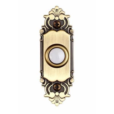 Wired LED Lighted Door Bell Push Button in Antique Brass