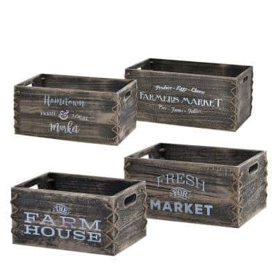 Antique Gray Storage Wooden Crates with Side Cutouts (Set of 4)