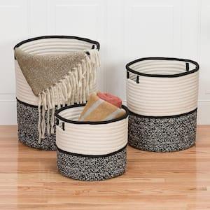 Jaydon 10 in. x 10 in. x 12 in. Black Round Polypropylene Braided Basket