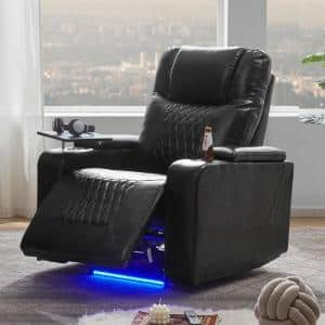 Black PU Power Motion Home Theater Recliner with USB Charging Port and 360° Swivel Tray Table