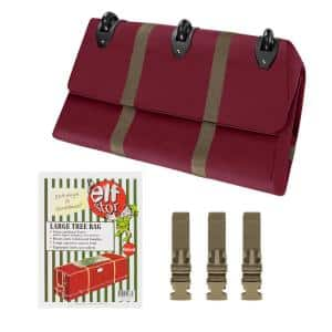 Red Heavy-Duty Christmas Tree Rolling Storage Bag for Trees Up to 9 ft. Tall