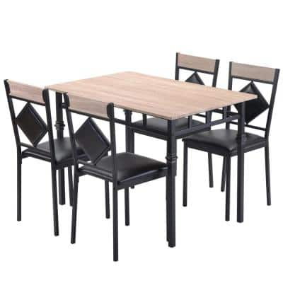 5-Piece Nature Kitchen Dining Table Set with Wood Kitchen Table and Metal Frame 4-Leather Dining Chair