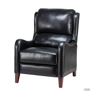 Hyde Black Nailhead Genuine Leather Recliner